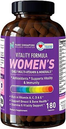 Vitality Formula Women's Multi-Vitamins - Multi Nutrient, Antioxidants, Super Food - 180 Capsules