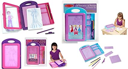 Amazon Com Fashion Design And Princess Design Activity Kit 2 Pack Bundle Kit By Melissa And Doug Toys Games