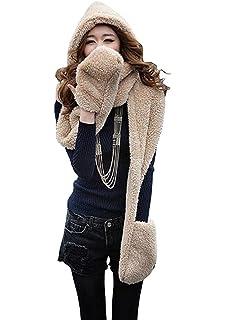 Hiver Femmes Epais Gant Chapeau Bonnet Capuche Plush Écharpe Châle Éarflap  Hat Gloves,Cadeau de 78fd2fc8385