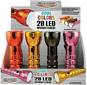 """Shawshank Ledz Inc 900216 """"Blazing Ledz"""" Cool Colors Led Flashlight - 28 Led (Pack of 12)"""