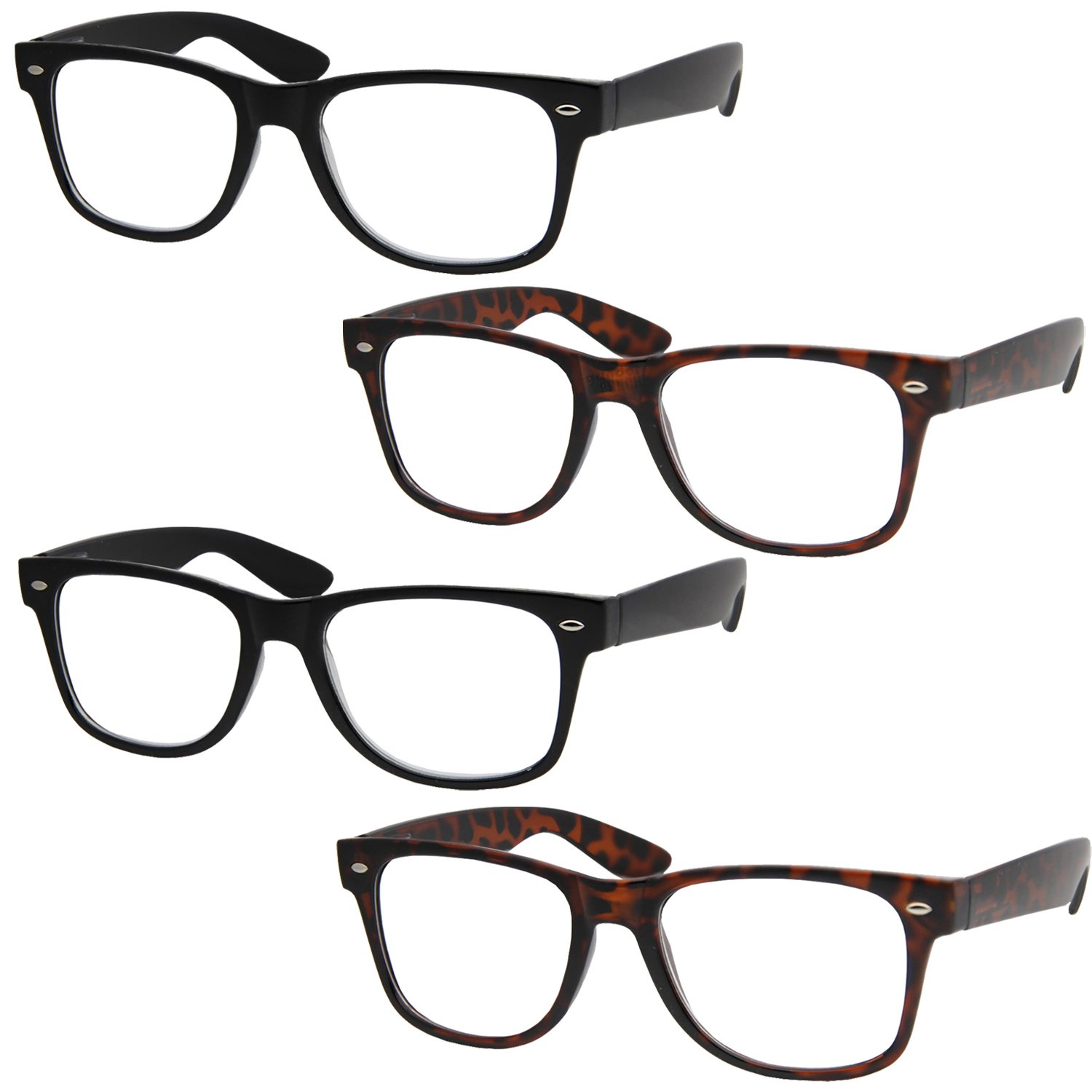 4 pairs deluxe reading glasses standard fit hinge