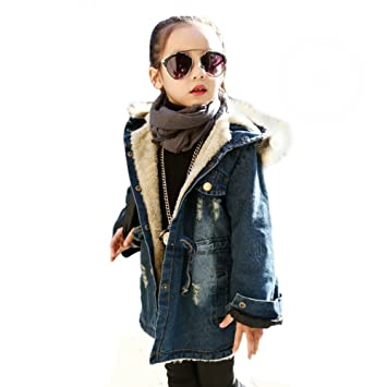 b18d789e5 Winter Denim Coats Girls Jeans Jackets Coats Kids Fur Hood Coat (7 ...