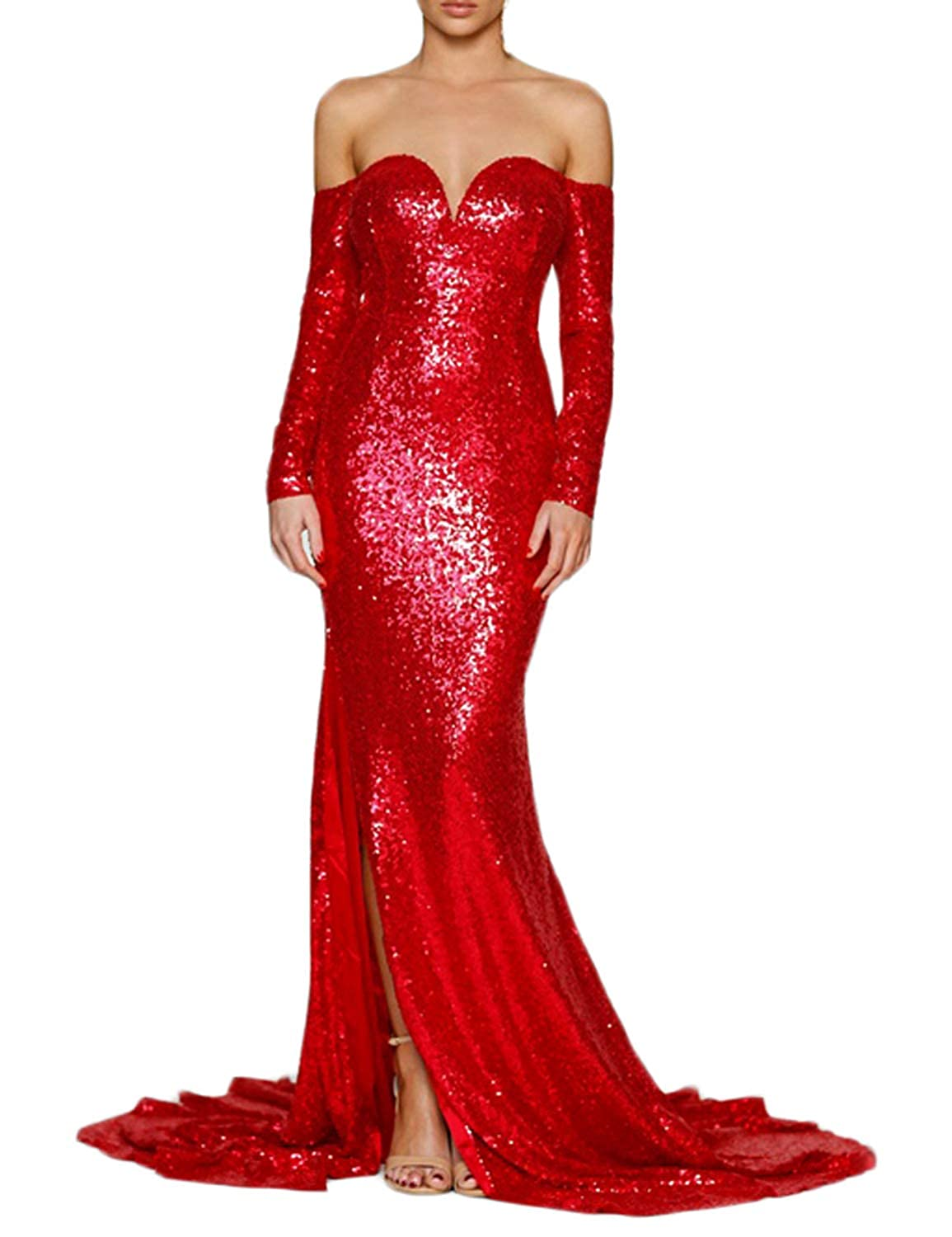 Red CIRCLEWLD Off Shoulder Long Sleeves Sequin Formal Dresses Slit Mermaid Evening Gown E210