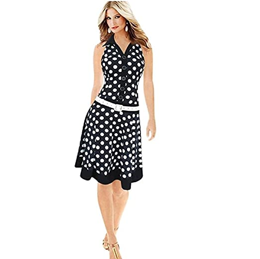 d4a5df873a7f4d Rambling Fashion Polka Dot Low Waist Dress for Women