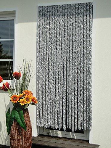 61F667TOYnL Chenille, Vlies, Türvorhang, 90 x 200 cm, Silber, weiß