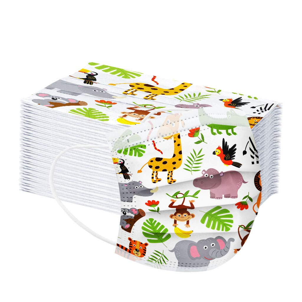 100 Niños Protección, 𝐌𝐚𝐬𝐜𝐚𝐫𝐢𝐥𝐥𝐚𝐬, Protección personal diaria 3 Capas Transpirables con Elástico para Los Oídos para Impresión linda Seguro Suave Transpirable