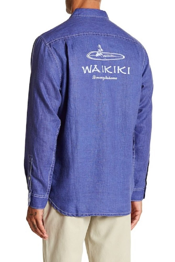 Tommy Bahama Long Sleeve Waikiki Sea Glass Breezer Relaxed Fit Camp Shirt (Color: Orient Blue, Size L)