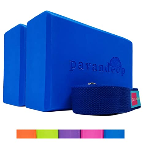 5b74179988 Amazon.com : Pavandeep Yoga Blocks (1 Block or 3pc Yoga Block and ...