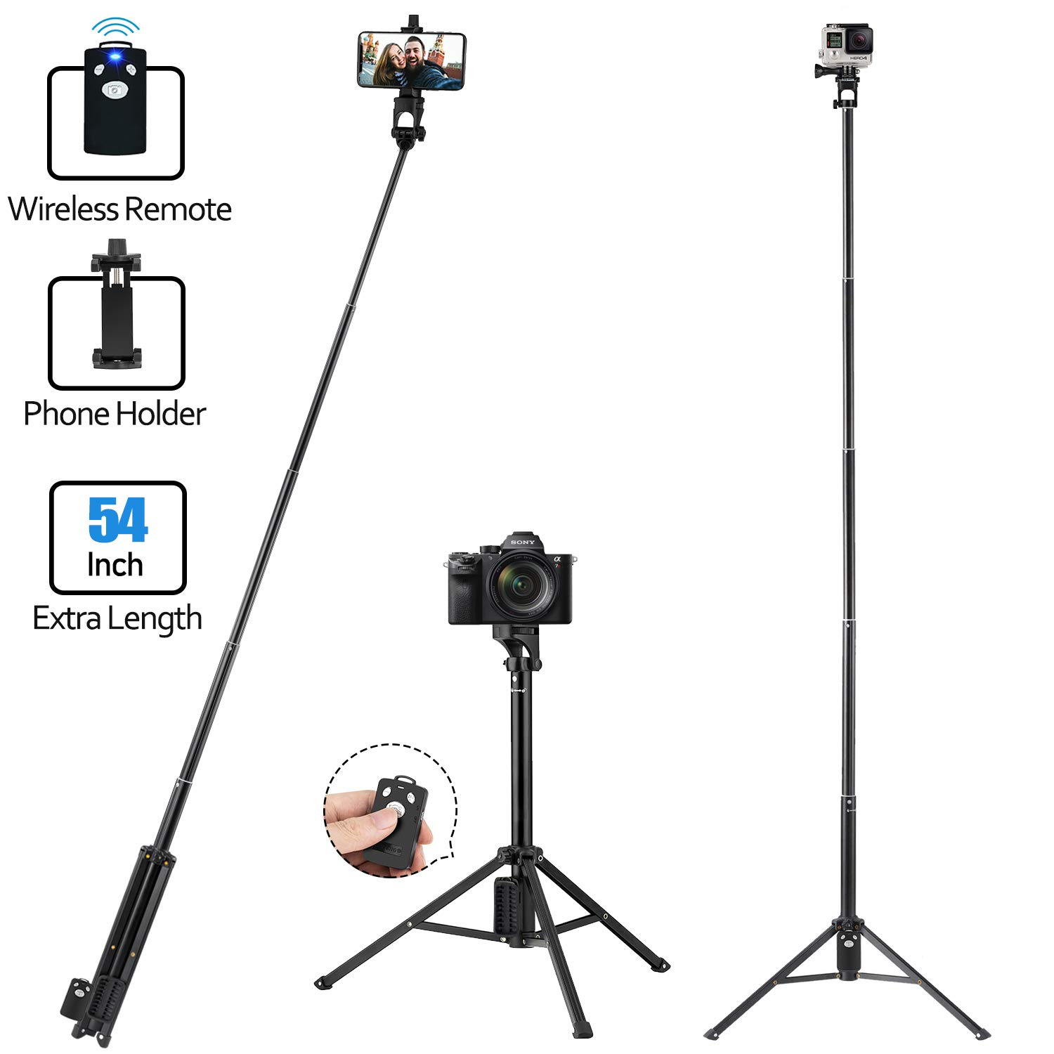 Tobeape Selfie Stick Tripod, Lightweight Aluminum Digital/Action Camera Tripod, 54-inch Extendable Phone Tripod Included Wireless Remote and Phone Holder Compact All Smartphones