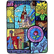"Disney Beauty and the Beast Stained Glass 46"" x 60"" Soft Plush Throw Blanket"