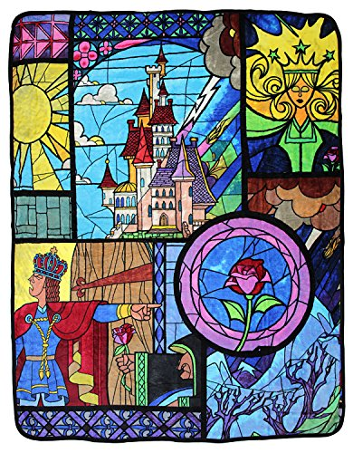 Northwest Fleece Soft Blanket (Disney Beauty and the Beast Stained Glass 46