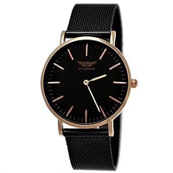 c7692f8c07d NY London Ladies Watch Designer Classic Milanese Band Analogue Quartz Black Rose  Gold  Amazon.co.uk  Watches