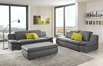 Sofa La Isla Grau 3 2 Sitzer Hocker Couch Lederoptik Polstergarnitur