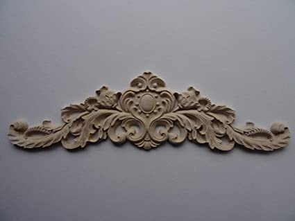 Decorative wooden large center applique onlay furniture moulding