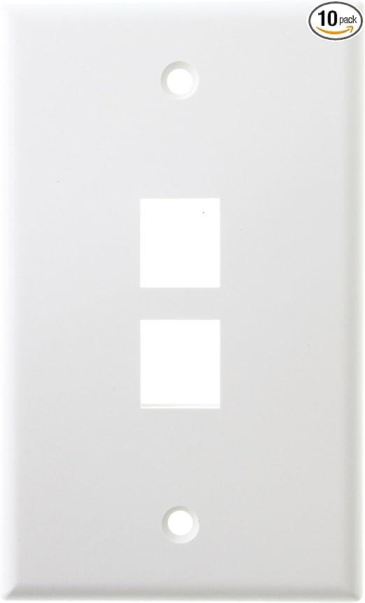 41080-2WP LEVITON QuickPort Wallplate Single Gang 2-Port White