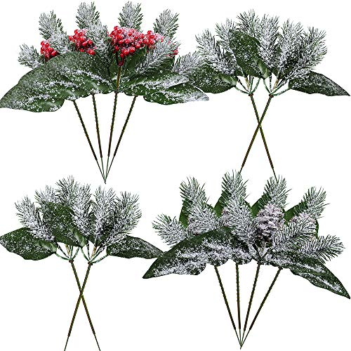 Supla 12 Pcs 3 Style Assorted Artificial Snowy Winter Christmas Holly Leaf Picks Sprays with Red Berries Pine Cones Pinecones Frosted Christmas Greenery Holiday Floral Picks 8.7 Tall