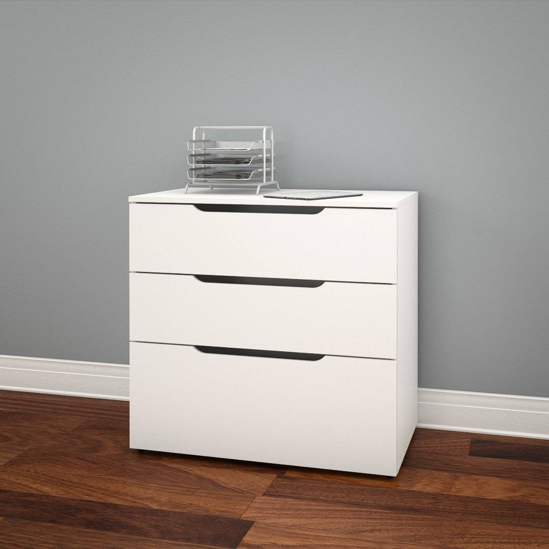 amazoncom arobas 3drawer filing cabinet from nexera white kitchen u0026 dining