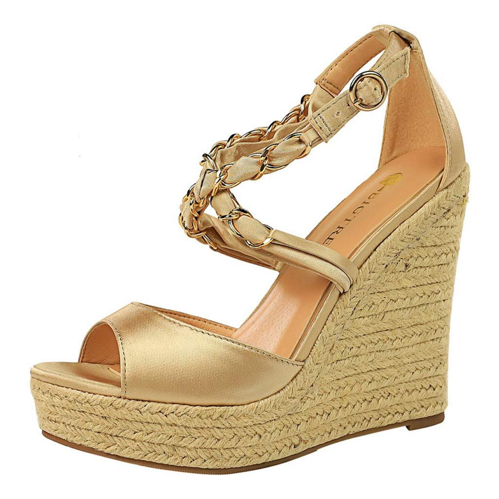 Kauneus Womens Stylish Strappy Criss Cross Open Toe Wedge Buckle Ankle Strap Waterproof Platform Sandals Multicolor Gold