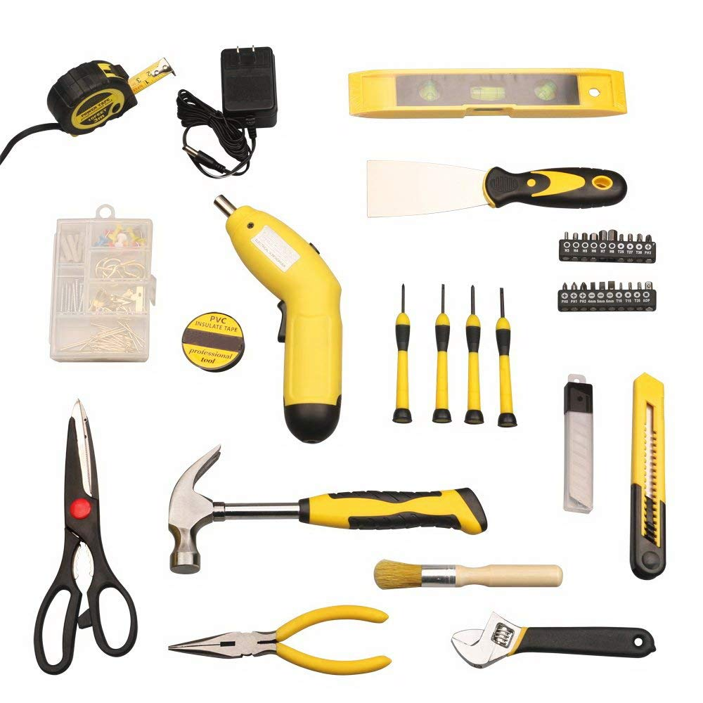 Tool Kit. Best Portable Big Basic Starter Professional Household DIY Hand Mixed Repair Set W/Plastic Storage Toolbox For Home&Garage&Office For Men&Women. Includes Screwdriver, Wrench, Pliers, Etc.