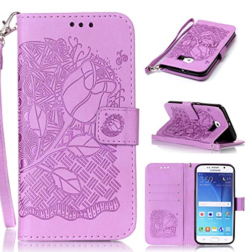 Anzeal Galaxy S6 Case,[Card Slot][Stand] Magnetic PU Leather Rich Flowers Embossed Wallet Case Folio Flip Case with Strap for Samsung Galaxy S6 [Purple]