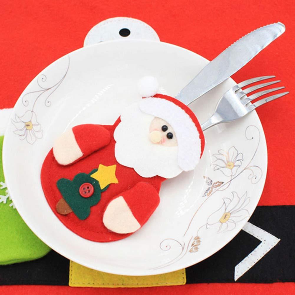 CHoppyWAVE Cutlery Pouch, Santa Snowman Cutlery Holder Utensil Bag Fork Knife Pocket Xmas Table Decor - Snowman by CHoppyWAVE (Image #7)