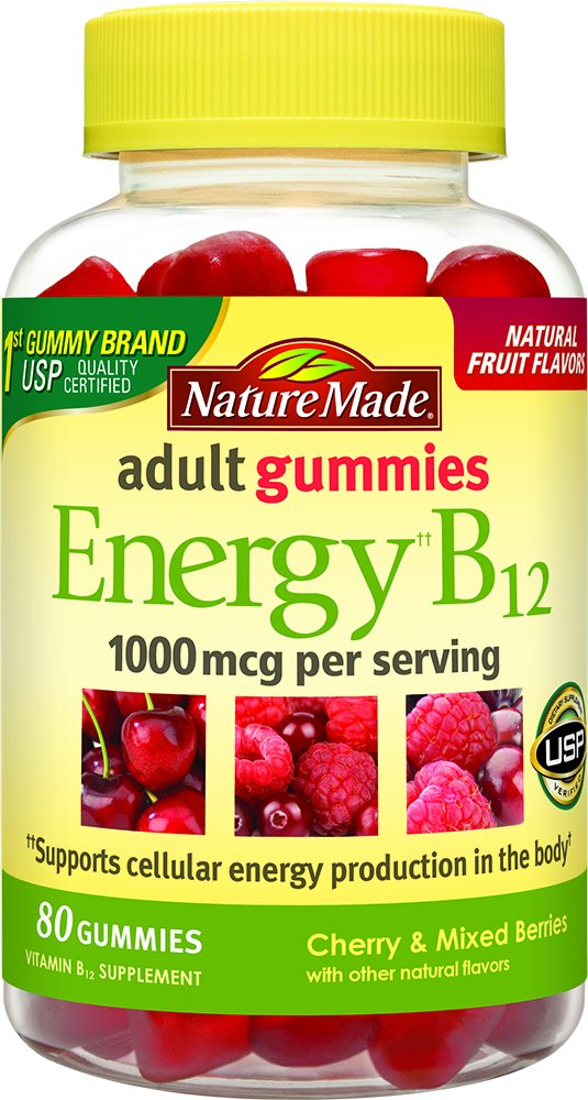 Nature Made Energy B-12 Adult Gummies Cherry & Wild Berries -- 80 Gummies,1000 mcg