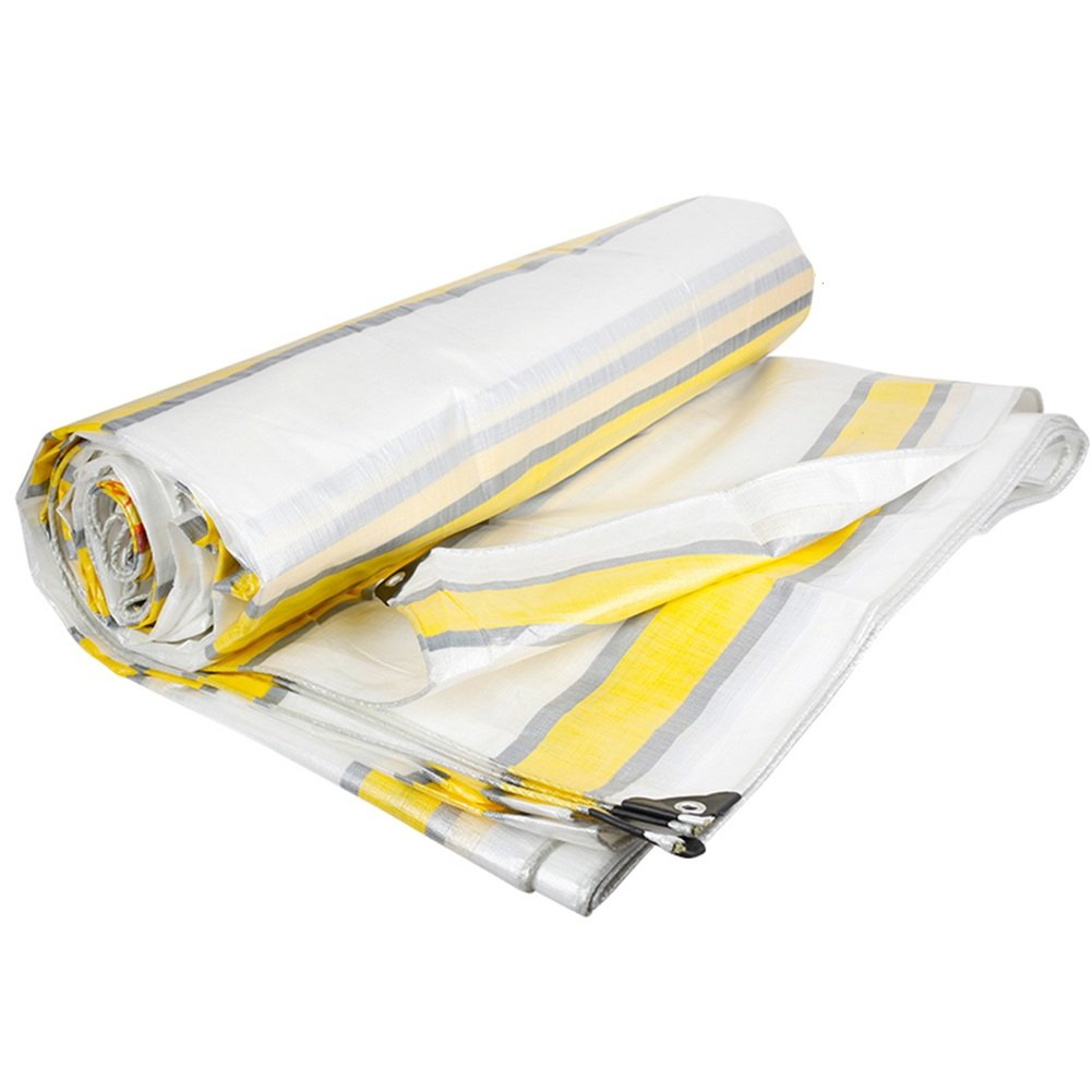 ZEMIN オーニング サンシェード ターポリン 防水 日焼け止め テント シート ルーフ 防風 カバー 暖かい ポリエステル、 ストライプ、 220G/5サイズあり (色 : Stripe, サイズ さいず : 6X8M) B07D1N84R3 6X8M Stripe Stripe 6X8M
