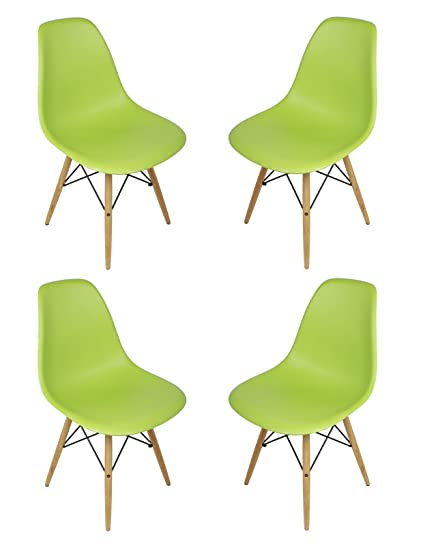 DSW Lime Green Plastic Shell Chair with Wood Eiffel Legs Set of 4  sc 1 st  Amazon.com & Amazon.com - DSW Lime Green Plastic Shell Chair with Wood Eiffel ...