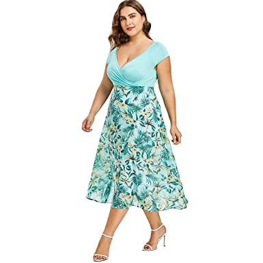 5a51b4de1be8 Quealent Women's Summer Plus Size Dresses Casual Floral Pattern Chiffon V- Neck Wrap Short Sleeve Prom Midi Dresses at Amazon Women's Clothing store: