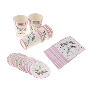HomeDecTime Platos Vasos de Papel Tema de Unicornio Tazas de ...
