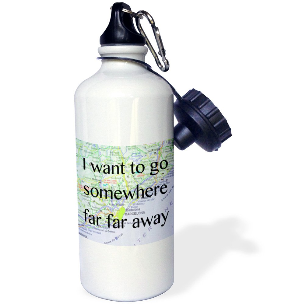 3dRose wb/_173327/_1 I Want to Go Somewhere Far Away Sports Water Bottle 21 oz Multicolor