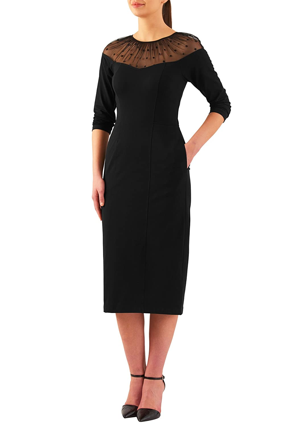 Vintage Evening Dresses Polka dot illusion cotton knit sheath dress $52.95 AT vintagedancer.com