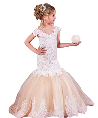 78728e9d2c890 Automan Mermaid Lace Flower Girl Dresses Kids Girl Wedding Communion Gown 2  Cham