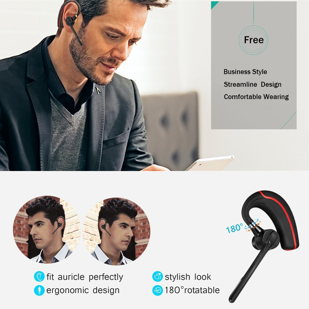 Bluetooth Headset, Wireless Earpiece with Mic Mute Switch for Trucker Handsfree Bluetooth Headphone Wireless 4.1 Headsets Earphone Compatible for iPhone Android Cellphone