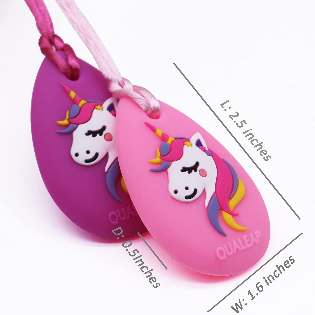 Designed for Chewing Exclusive Autism Sensory Teether Toy 2 Pack - Chewing Necklace Teething Necklace Teether Necklace Chew Toys Teething Toys Unicorn Chew Necklace for Kids Girls