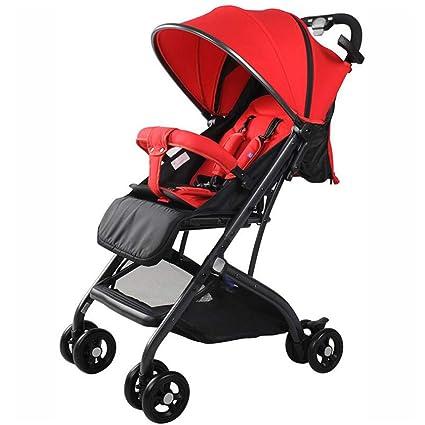 Cochecito de bebé alto paisaje reclinable ligero plegable paraguas cochecito cochecito carrito (Color : A