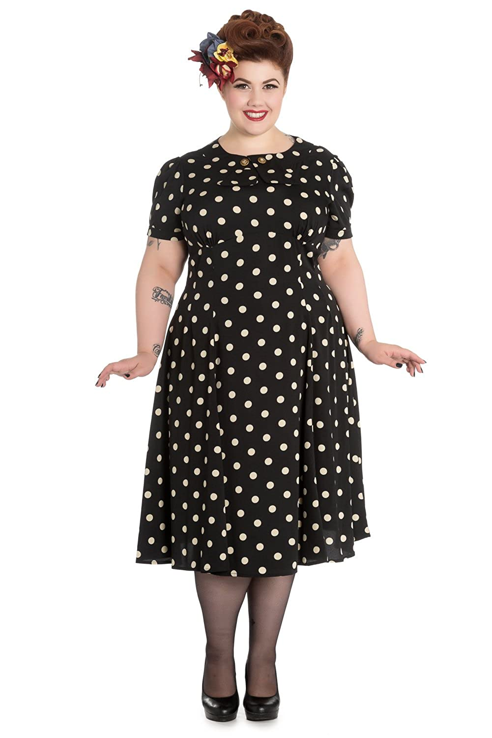 1930s Plus Size Dresses Hell Bunny Plus Size Sweet Office Lady Black Mod Polka Dot Dress $72.00 AT vintagedancer.com