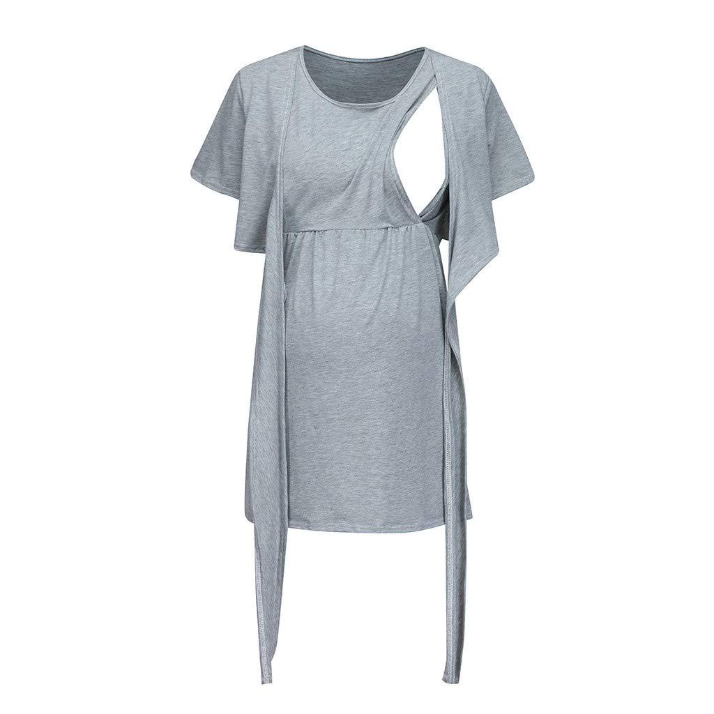 Breastfeeding Sweatshirt,Women Maternity Pregnancy Blouse Nursing Sleepwear Tie Breastfeeding Tops,Novelty Clothing,Green,L