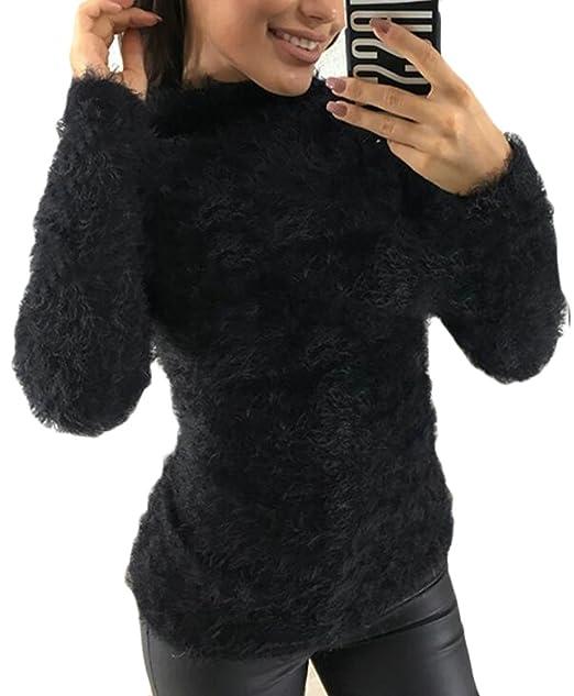 dac54923e97d3b Zantt Women s Solid Fluffy Long Sleeve Turtleneck Blouse Top Shirt Black XS