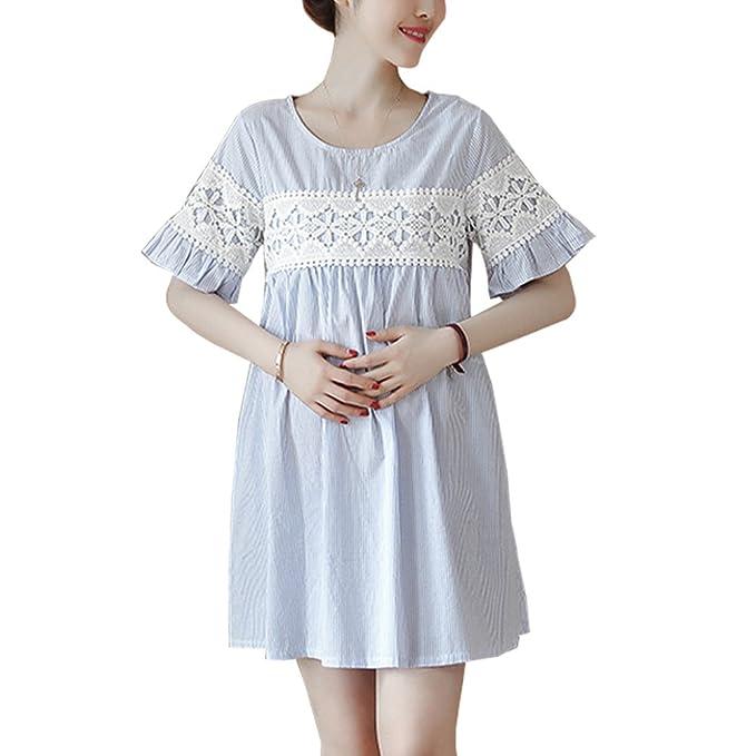 00f3f6e18 XFentech Mujer Embarazo Vestido Lactancia - Moda Premamá Maternidad de  Manga Corta Cuello Redondo Vestidos Verano