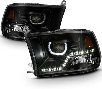 09-18 Ram 1500 2500 3500 Halo LED Blk Smoke Headlights Fit Mono-Eye Technology