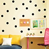 Bata Lot de stickers muraux en vinyle ronds, noir, 4cm 52dots