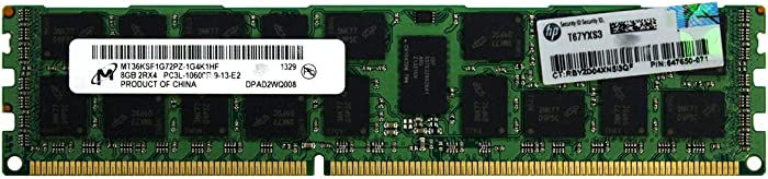 HP 664690-001 8GB (1X8GB) 1333MHZ PC3-10600 CL9 Dual Rank ECC Registered Low Voltage DDR3 SDRAM DIMM