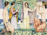 Tile Mural ARCADIAN IDYLL by Ludwig von Hofmann music girls woman nude Kitchen Bathroom Shower Wall Backsplash Splashback 4x3 4'' Marble, Matte