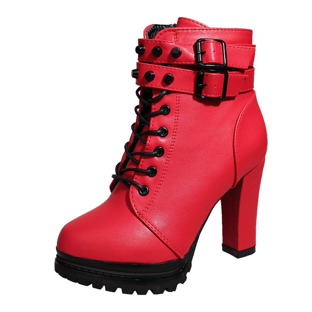 COPPEN Women Martain Boot High Heel Solid Leather Lace-Up Bukcle Round Toe Bootie