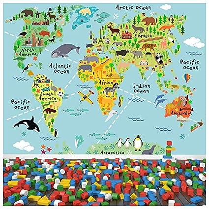Animal World Map Wall Mural Childrens Photo Wallpaper Kids Bedroom on