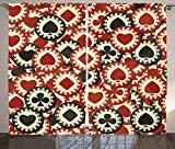 Casino Decorations Collection Poker Chips Metropolitan Dollar Currency Symbols Wealth Winning Enjoy Picture Living Room Bedroom Curtain 2 Panels Set Burgundy Black