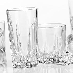 Home Essentials 3040-HE Empire Diamante Drinkware Set, 16 Piece, Clear