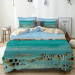 AXEDENRRT Design Comforter Sets Full/Queen 3 Pieces Style (1 Duvet Cover+2 Pillowcases) Bora Bora Tahiti Blacktip Reef Shark Chasing Butterfly Fish Lagoon of Teen Girls Duvet Cover Set