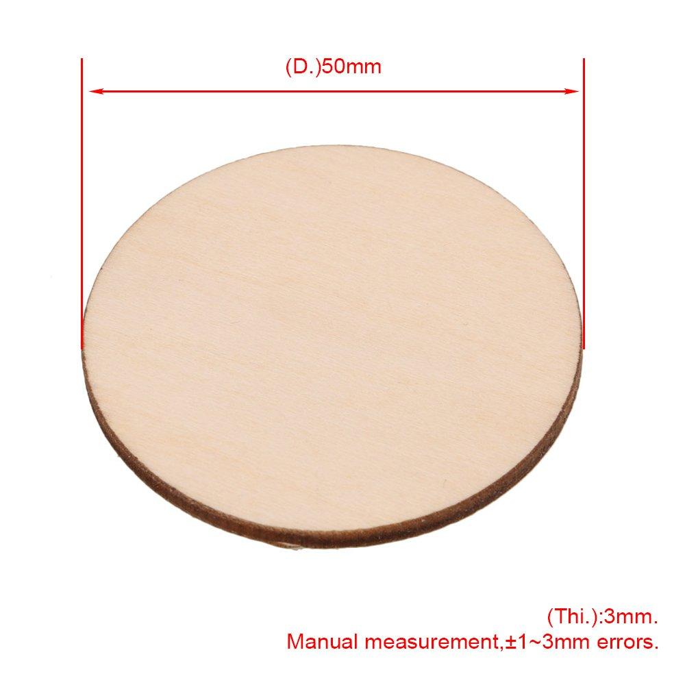 BQLZR Cercle de d/écoupe de 3/mm d/épaisseur en bois brut pour artisanat 40mm Dia bois rond